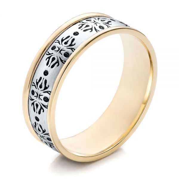Men's Engraved Two-Tone Wedding Band - Image