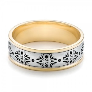 Men's Engraved Two-Tone Wedding Band