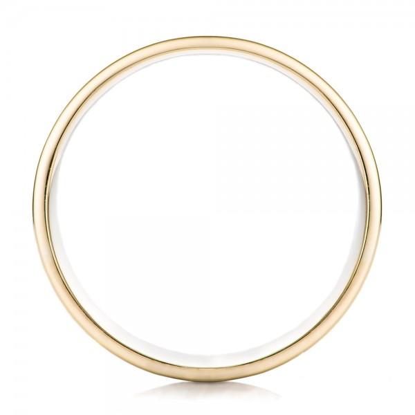 Men's Engraved Two-Tone Wedding Band - Finger Through View