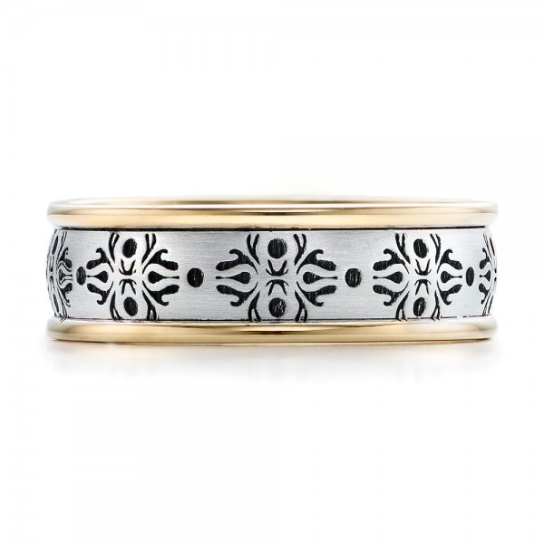 Men's Engraved Two-Tone Wedding Band - Top View