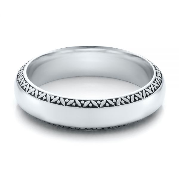 Mens Engraved Wedding Band - Flat View -
