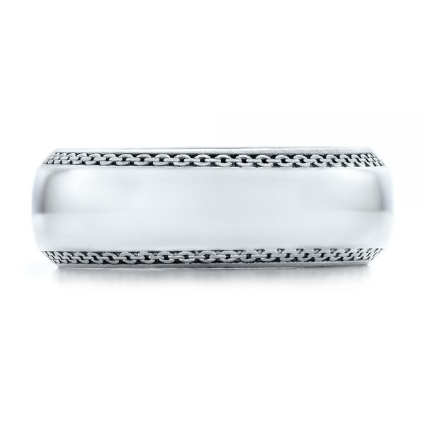 14k White Gold Men's Engraved Wedding Band - Top View -