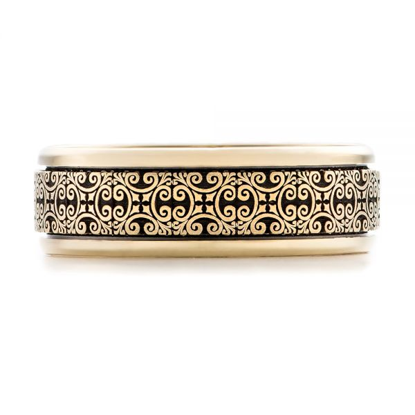 Men's Engraved Wedding Band - Top View -  101051