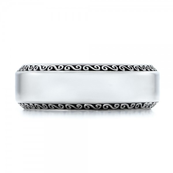 Men's Engraved Wedding Band - Top View