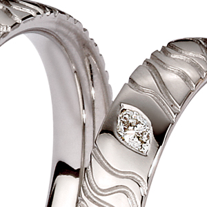 Men's Engraved White Gold and Diamond Band