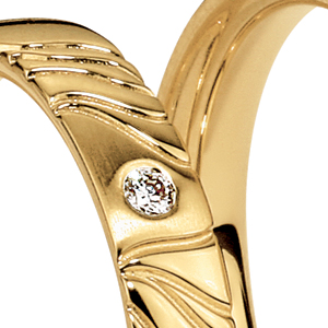 Men's Engraved Yellow Gold and Diamond Band