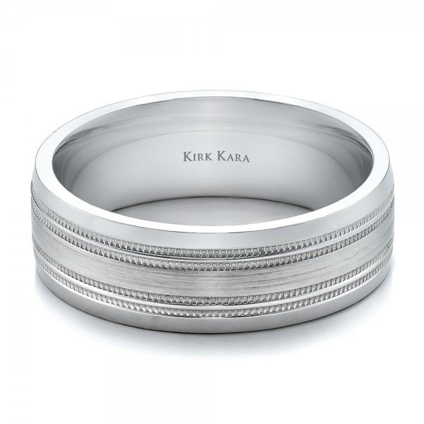 Brushed Finish Men's Wedding Band - Kirk Kara - Laying View
