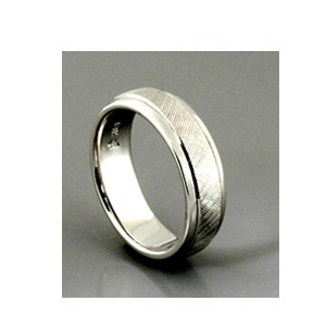 Men's Etched White Gold Band - Samuel Jewels