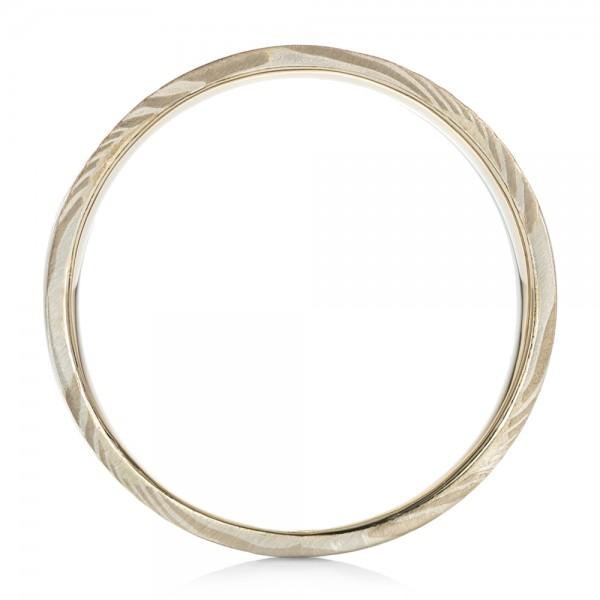 Custom Men's White Gold and Mokume Wedding Band - Finger Through View