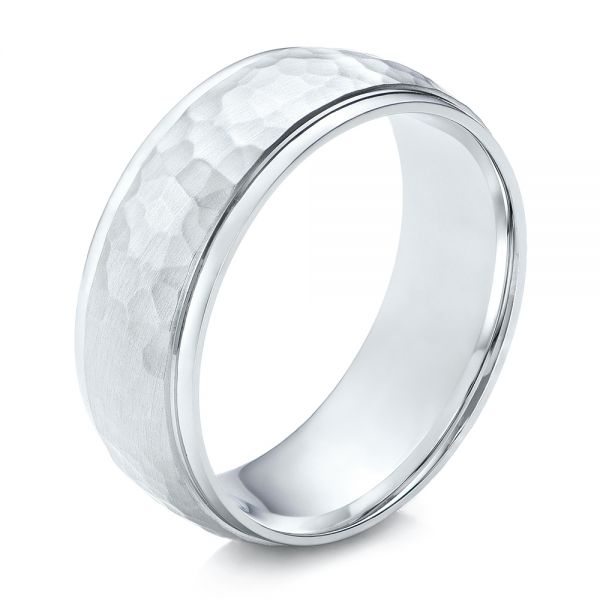 14k White Gold Men's Hammered Finish Band - Three-Quarter View -
