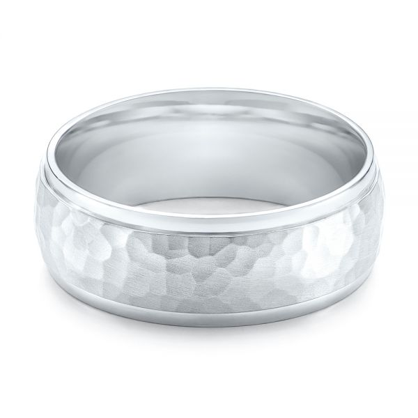 14k White Gold Men's Hammered Finish Band - Flat View -