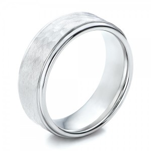 Men's Hammered Finish White Tungsten Band - Image
