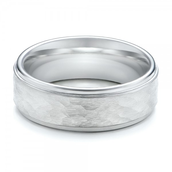 Mens Hammered Finish White Tungsten Band 1356