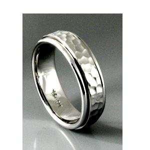 Men's Hammered White Gold Band - Samuel Jewels