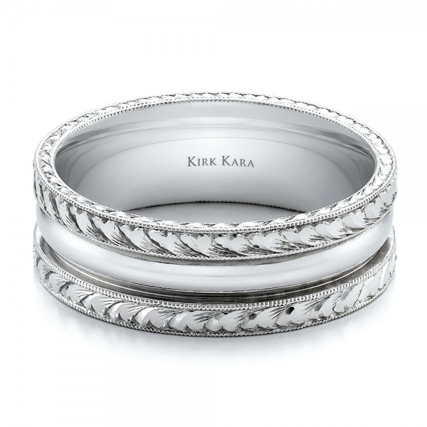 Hand engraved men39s wedding band kirk kara 100669 for Engraving on mens wedding rings