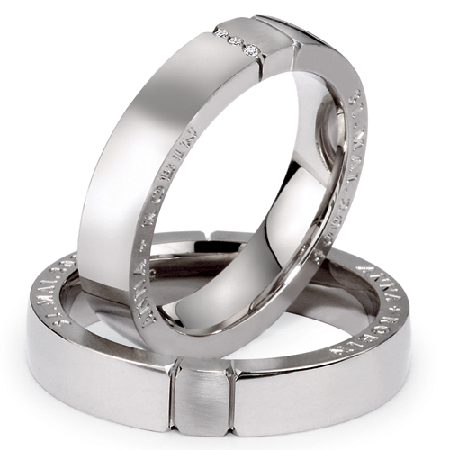 Men's Inscribed Platinum and Diamond Band