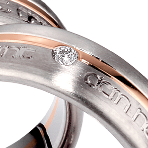 Men's Inscribed Two-Tone and Diamond Band