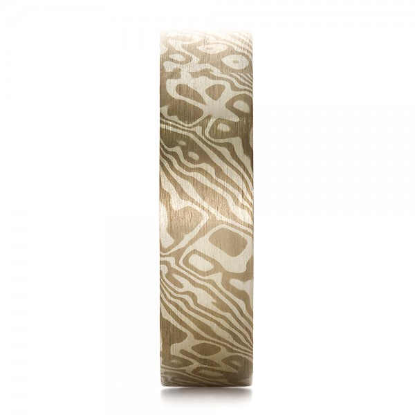 Men's Mokume Flat Band - Side View -  100524 - Thumbnail