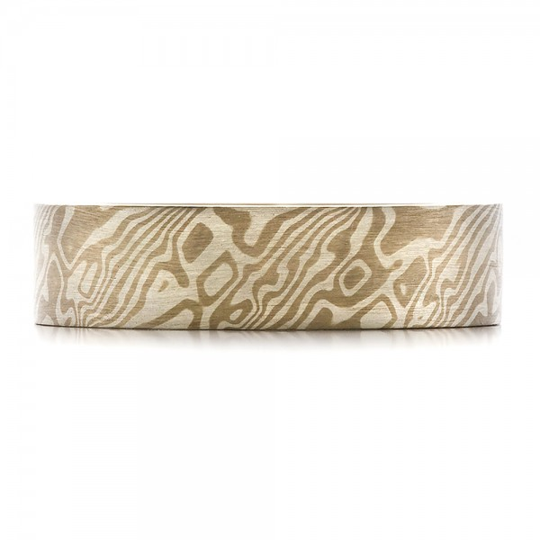 Men's Mokume Flat Band - Top View -  100524 - Thumbnail