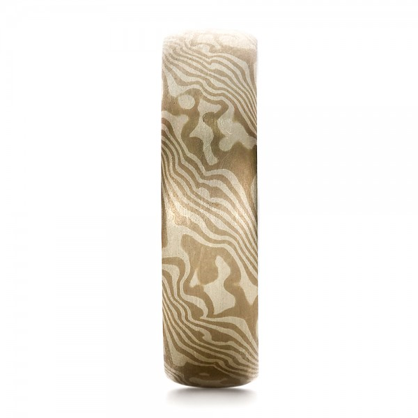 Men's Mokume Half Round Band - Side View -