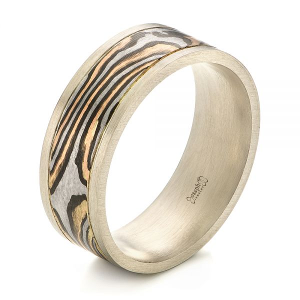 Men's Unplated White Gold and Mokume Wedding Band