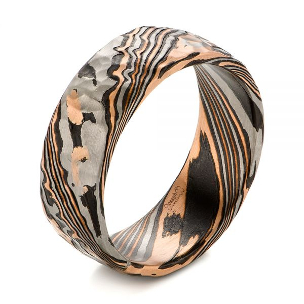 Men's Mokume Wedding Band - Image