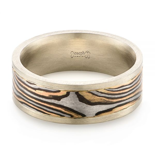 Mens Unplated Mokume Wedding Band - Flat View -