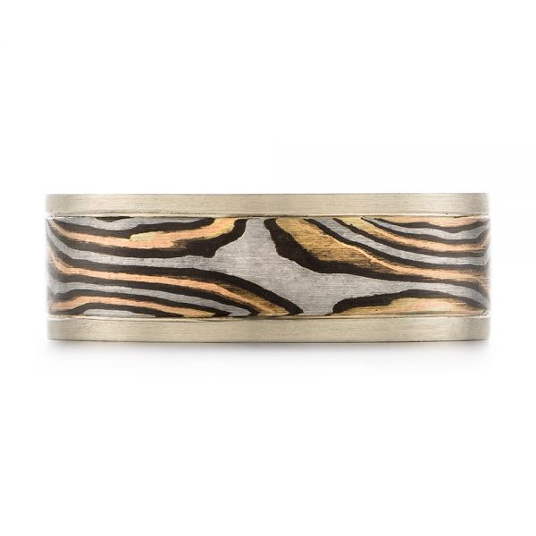 Mens Unplated Mokume Wedding Band - Top View -