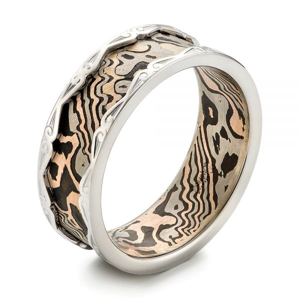 Men's Mokume and White Gold Wedding Band  - Image