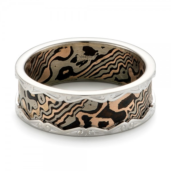 Mens Mokume And White Gold Wedding Band 102829