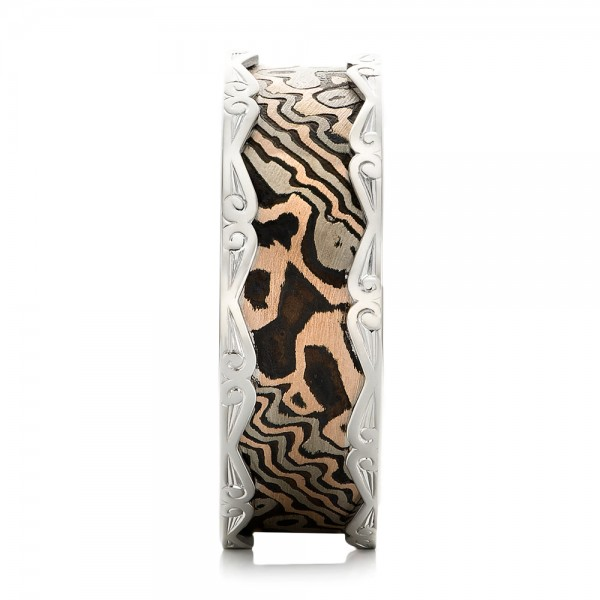 Men's Mokume and White Gold Wedding Band  - Side View