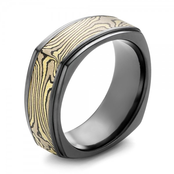 Mokume and Zirconium Wedding Band