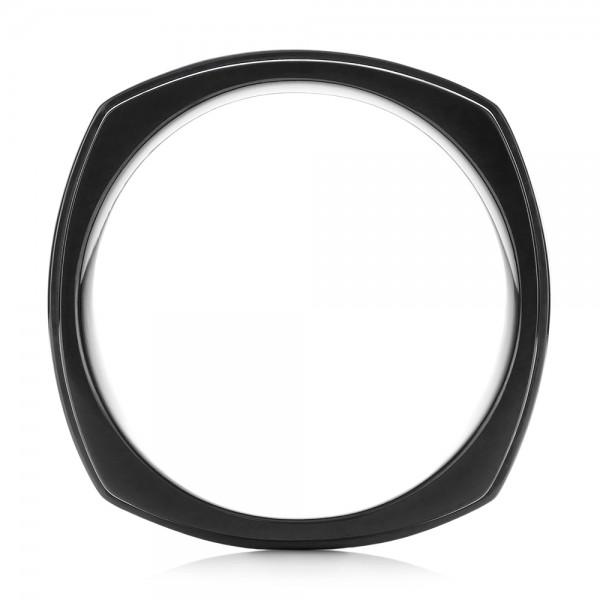 Mokume and Zirconium Wedding Band - Finger Through View