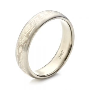 Men's Palladium Mokume Wedding Band - Image