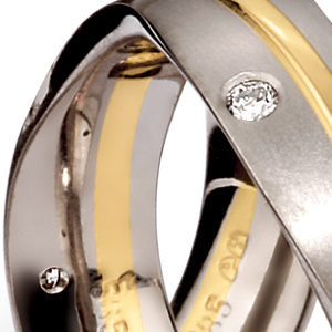 Men's Palladium, Yellow Gold and Diamond Band