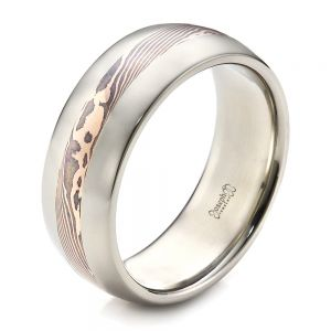 Men's Palladium and  Mokume Wedding Band - Image