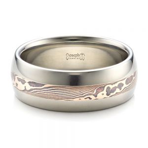 Men's Palladium and  Mokume Wedding Band