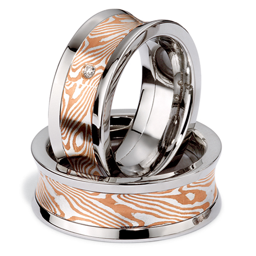 Men's Platinum Mokume and Diamond Band