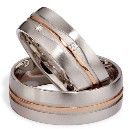 Mens Platinum Rose Gold and Diamond Band 284