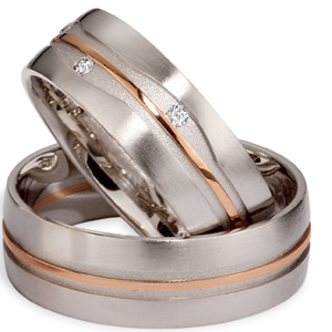 Men's Platinum, Rose Gold and Diamond Band