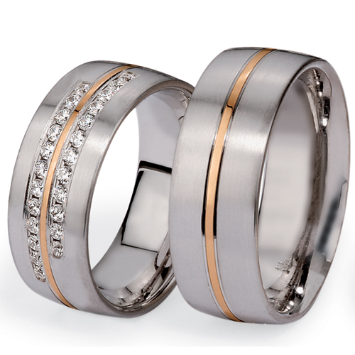 Men's Platinum, Yellow Gold and Diamond Band