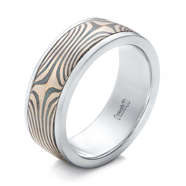 Men's Mokume Wedding Band - Three-Quarter View -