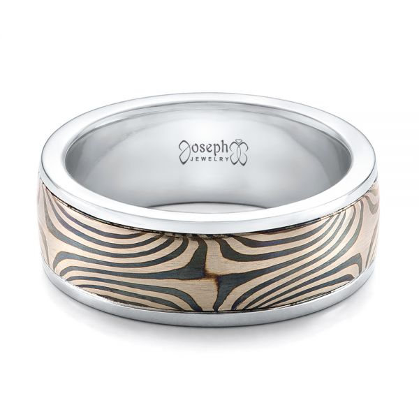 Men's Mokume Wedding Band - Flat View -