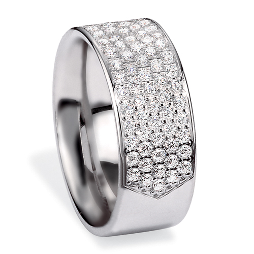 Men's Platinum and Pave Diamond Band - Three-Quarter View -  268 - Thumbnail