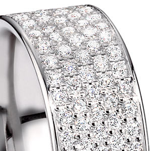 Men's Platinum and Pave Diamond Band - Flat View -  268 - Thumbnail