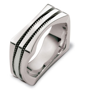 Men's Rope 18k White Gold Band