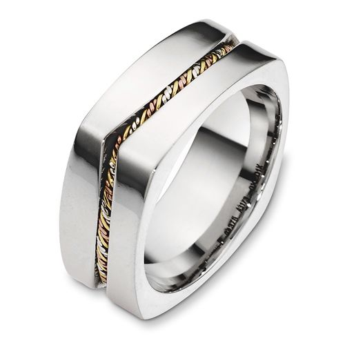 Men's Rope Two-Tone Gold Band - Image
