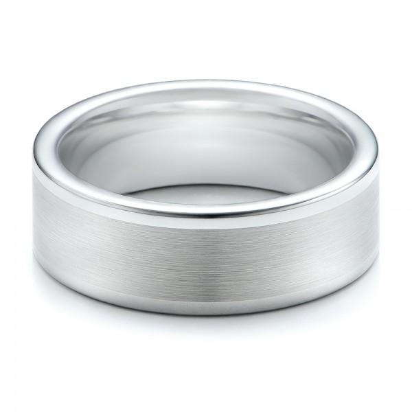 Men's Satin Finish White Tungsten Band - Laying View