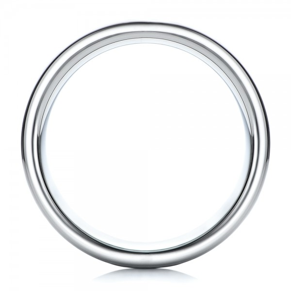 Men's Satin Finish White Tungsten Band - Finger Through View