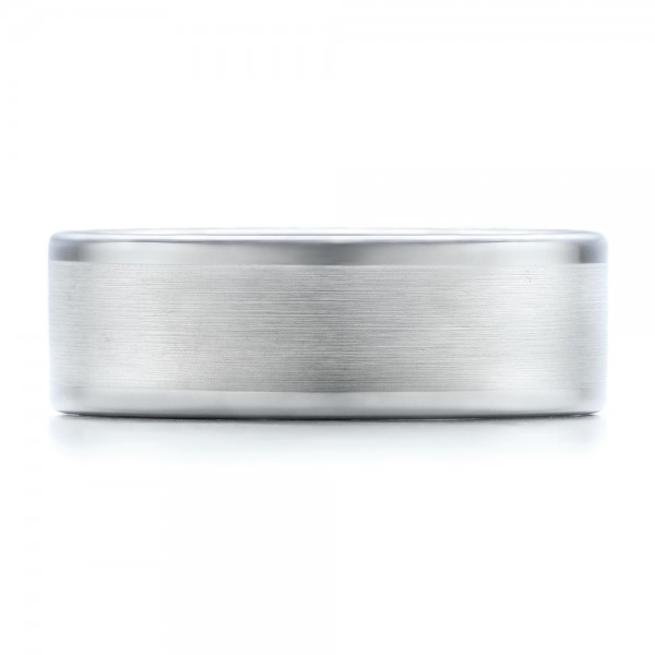 Men's Satin Finish White Tungsten Band - Top View